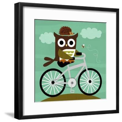 Owl and Hedgehog on Bicycle-Nancy Lee-Framed Art Print
