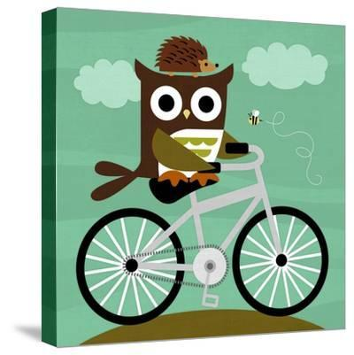 Owl and Hedgehog on Bicycle-Nancy Lee-Stretched Canvas Print