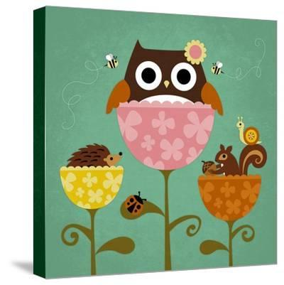 Owl, Squirrel and Hedgehog in Flowers-Nancy Lee-Stretched Canvas Print