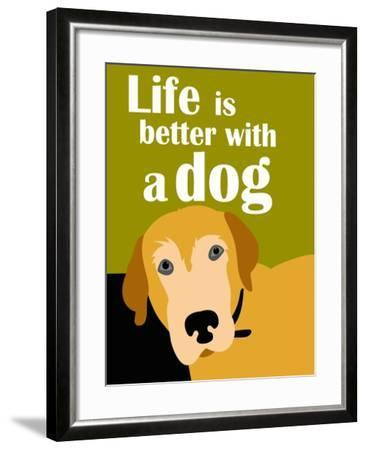 Life is Better with a Dog-Ginger Oliphant-Framed Art Print