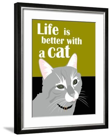 Life is Better with a Cat-Ginger Oliphant-Framed Art Print