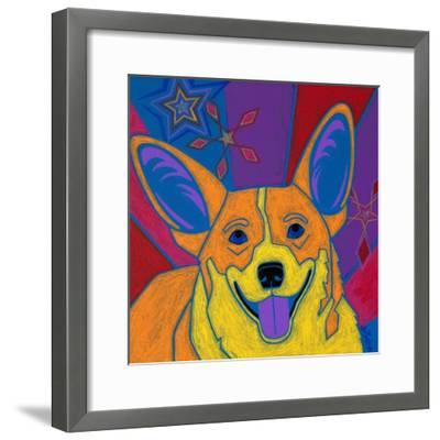 Joyful Corgi-Angela Bond-Framed Art Print