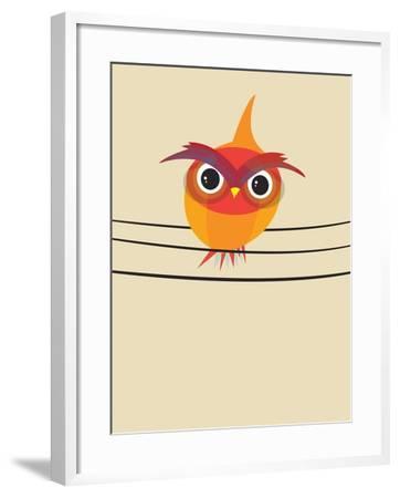 Owl on a Wire-Volkan Dalyan-Framed Art Print