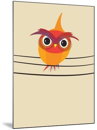 Owl on a Wire-Volkan Dalyan-Mounted Art Print