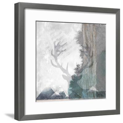 Deer and Mountains 1-Louis Duncan-He-Framed Art Print