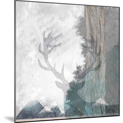 Deer and Mountains 1-Louis Duncan-He-Mounted Art Print