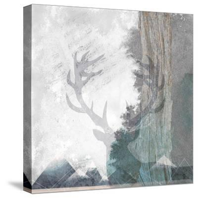 Deer and Mountains 1-Louis Duncan-He-Stretched Canvas Print