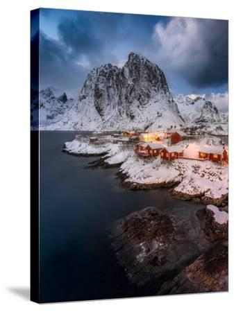 Red Cottages of Hamnoy-Hans Logren-Stretched Canvas Print