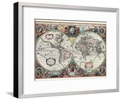 Nova Totius Terrarum Orbis Tabula-Hendrik Hondius-Framed Art Print