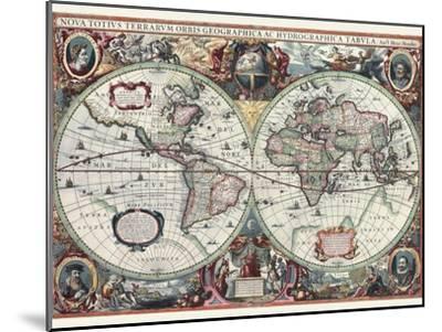 Nova Totius Terrarum Orbis Tabula-Hendrik Hondius-Mounted Art Print