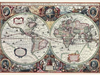 Nova Totius Terrarum Orbis Tabula-Hendrik Hondius-Framed Premium Giclee Print