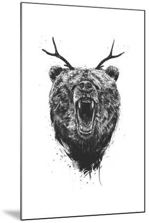 Angry Bear With Antlers-Balazs Solti-Mounted Art Print