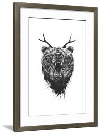Angry Bear With Antlers-Balazs Solti-Framed Art Print