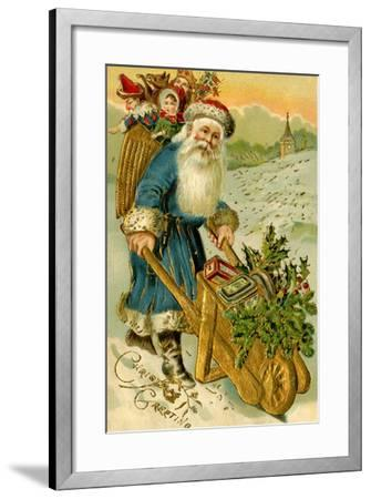 Father Christmas Dressed in Blue Carrying a Basket of Toys, Beatrice Litzinger Collection--Framed Art Print