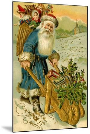 Father Christmas Dressed in Blue Carrying a Basket of Toys, Beatrice Litzinger Collection--Mounted Art Print
