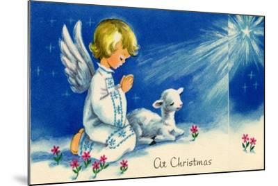 Christmas Angels Kneeling Praying Under the Christmas Star--Mounted Art Print