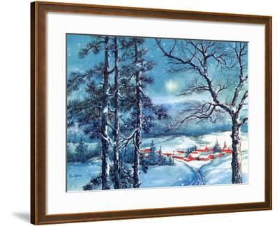 Greeting Card - Winter Scene with Red Village, National Museum of American History--Framed Art Print