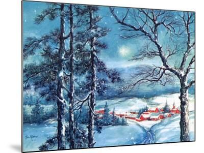Greeting Card - Winter Scene with Red Village, National Museum of American History--Mounted Art Print