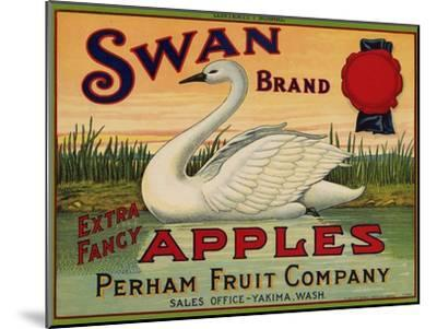 Fruit Crate Labels: Swan Brand Extra Fancy Apples; Perham Fruit Company--Mounted Art Print
