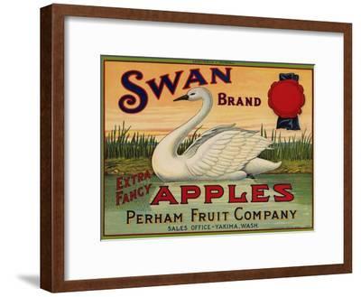 Fruit Crate Labels: Swan Brand Extra Fancy Apples; Perham Fruit Company--Framed Art Print