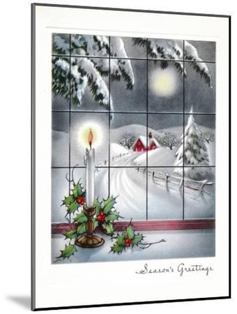 Greeting Card - Candles Season's Greetings - Winter Scene with Candle in the Window--Mounted Art Print