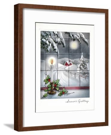 Greeting Card - Candles Season's Greetings - Winter Scene with Candle in the Window--Framed Art Print