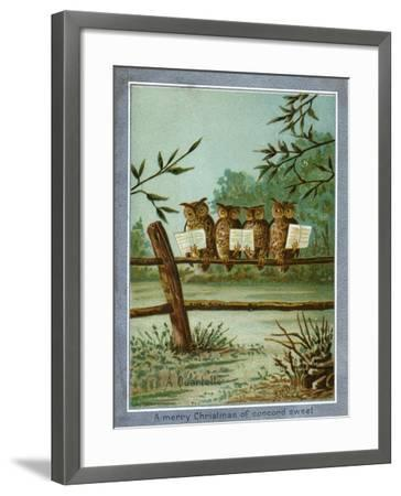 Center Warshaw Collection of Business Americana Series: A Quartette of 4 Owls on fence--Framed Art Print