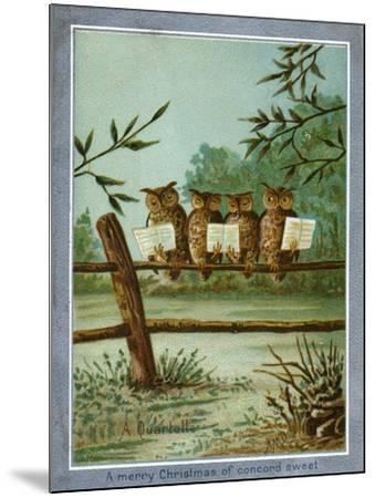 Center Warshaw Collection of Business Americana Series: A Quartette of 4 Owls on fence--Mounted Art Print