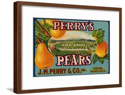 Fruit Crate Labels: Perry's High Grade Pears; J.M. Perry and Company, Inc.--Framed Art Print