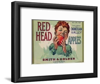 Fruit Crate Labels: Red Head Apples; Distributed by Smith and Holden, New York--Framed Art Print
