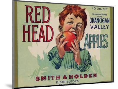 Fruit Crate Labels: Red Head Apples; Distributed by Smith and Holden, New York--Mounted Art Print