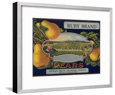 Fruit Crate Labels: Ruby Brand Pears; Entiat Fruit Growers League--Framed Art Print