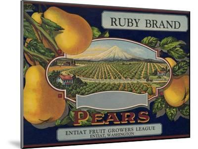 Fruit Crate Labels: Ruby Brand Pears; Entiat Fruit Growers League--Mounted Art Print
