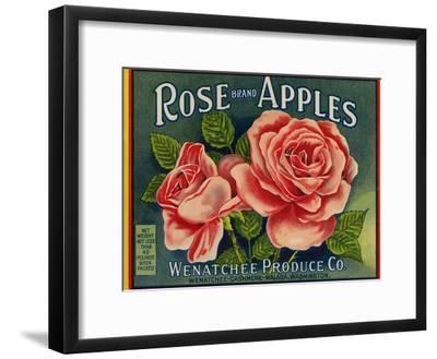Fruit Crate Labels: Rose Brand Apples; Wenatchee Produce Company--Framed Art Print