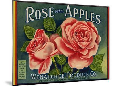 Fruit Crate Labels: Rose Brand Apples; Wenatchee Produce Company--Mounted Art Print