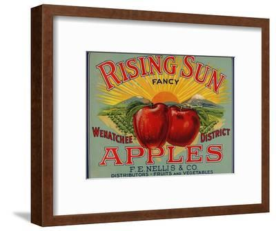 Fruit Crate Labels: Rising Sun Fancy Apples; F.E. Nellis and Company--Framed Art Print
