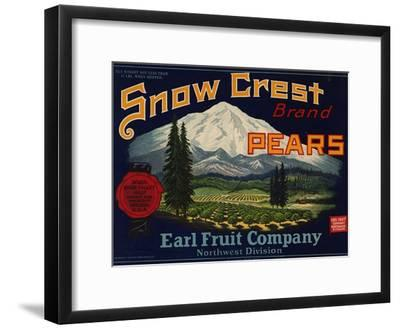 Fruit Crate Labels: Snow Crest Brand Pears; Earl Fruit Company--Framed Art Print