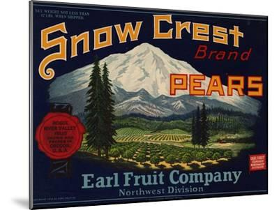 Fruit Crate Labels: Snow Crest Brand Pears; Earl Fruit Company--Mounted Art Print