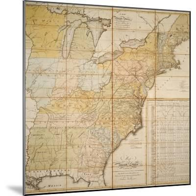 National Postal Museum: 1796 Postal Route Map--Mounted Art Print