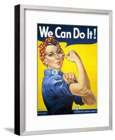 Military and War Posters: We Can Do It! J Howard Miller, 1942--Framed Art Print