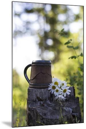 A Coffee Cup Sits In An Old Stump In The Woods Next To A Bouquet Of Daisies Summer In Montana-Hannah Dewey-Mounted Photographic Print