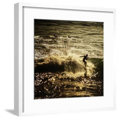 A Male Surfer Rides A Wave In The Pacific Ocean Off The Coast Of Santa Cruz This Image Tinted-Ron Koeberer-Framed Photographic Print