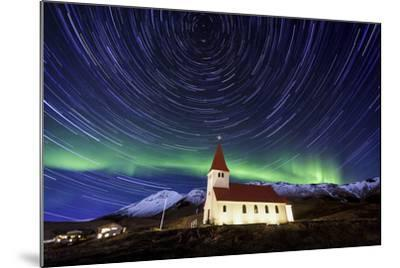 A Traditional Icelandic Church Is Framed By The Stunning Aurora Borealis-Joe Azure-Mounted Photographic Print
