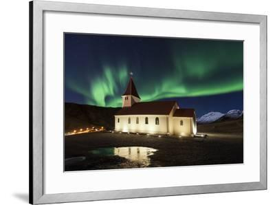A Traditional Icelandic Church Is Framed By The Stunning Aurora Borealis-Joe Azure-Framed Photographic Print