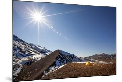 Yellow Tent And Sunstar-Lindsay Daniels-Mounted Photographic Print