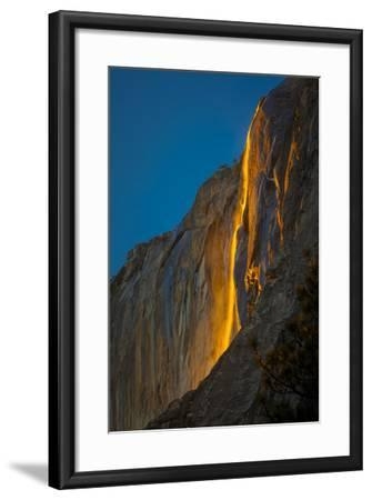 """Horsetail Falls Lit From Behind By The Setting Sun, Creating The Famed """"Firefall""""-Joe Azure-Framed Photographic Print"""