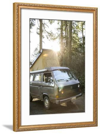 A Dog Peaks His Head Out In The Morning From A Volkswagen Bus On The Washington Coast-Hannah Dewey-Framed Photographic Print