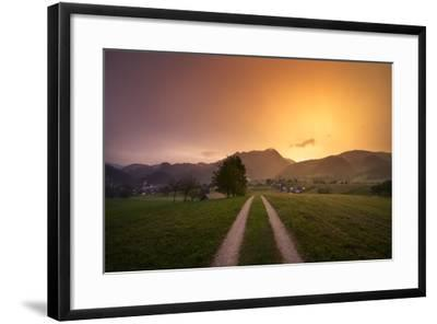 Europe, Slovenia, Skofja Loka, Setting Sun During A Thunderstorm At The Surrounding Of Skofja Loka-Aliaume Chapelle-Framed Photographic Print