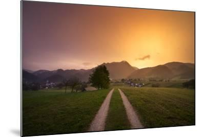 Europe, Slovenia, Skofja Loka, Setting Sun During A Thunderstorm At The Surrounding Of Skofja Loka-Aliaume Chapelle-Mounted Photographic Print