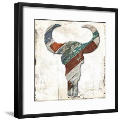 Wooden Bull Head-Jace Grey-Framed Art Print